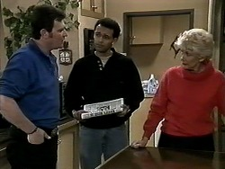 Des Clarke, Eddie Buckingham, Madge Bishop in Neighbours Episode 1294