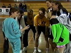 Pam Willis, Des Clarke, Jim Robinson, Adam Willis, Ryan McLachlan, Melanie Pearson, Doug Willis in Neighbours Episode 1304