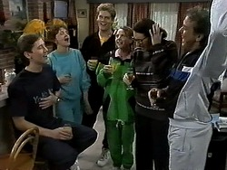 Ryan McLachlan, Pam Willis, Adam Willis, Melanie Pearson, Dorothy Burke, Doug Willis in Neighbours Episode 1305