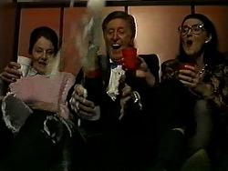 Mrs. Moorcroft, John Brice, Dorothy Burke in Neighbours Episode 1309