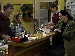 Harold Bishop, Gemma Ramsay, Ryan McLachlan, Dorothy Burke in Neighbours Episode 1313