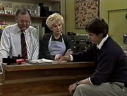 Harold Bishop, Madge Bishop, Joe Mangel in Neighbours Episode 1318