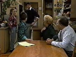 Gemma Ramsay, Toby Mangel, Joe Mangel, Madge Bishop, Harold Bishop in Neighbours Episode 1318