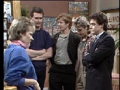 Clive Gibbons, Daphne Clarke, Des Clarke, Paul Robinson, Shane Ramsay in Neighbours Episode 0295