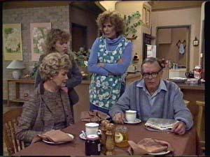 Edna Ramsay, Charlene Mitchell, Madge Bishop, Dan Ramsay in Neighbours Episode 0339