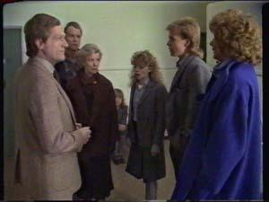 Mr White, Jim Robinson, Helen Daniels, Charlene Mitchell, Scott Robinson, Madge Bishop in Neighbours Episode 0339