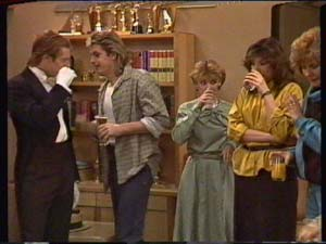 Clive Gibbons, Charlene Mitchell, Susan Cole, Shane Ramsay, Madge Bishop in Neighbours Episode 0341