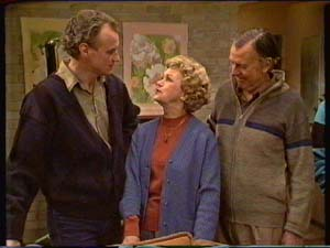 Jim Robinson, Edna Ramsay, Dan Ramsay in Neighbours Episode 0341