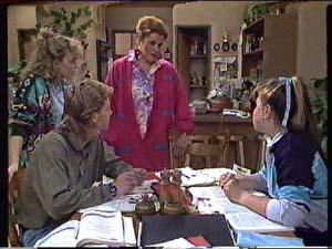 Charlene Mitchell, Laura Dennison, Nikki Dennison, Scott Robinson in Neighbours Episode 0360