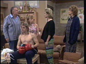 Charlene Mitchell, Daphne Clarke, Dan Ramsay, Madge Mitchell, Shane Ramsay in Neighbours Episode 0399