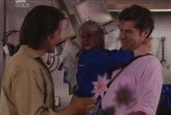Drew Kirk, Emily Hancock, Evan Hancock in Neighbours Episode 3959