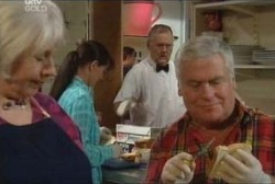 Lou Carpenter, Rosie Hoyland, Susan Kennedy, Harold Bishop in Neighbours Episode 3965