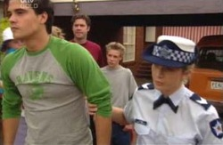 Matt Hancock, Evan Hancock, Leo Hancock, Terri Hall in Neighbours Episode 3981