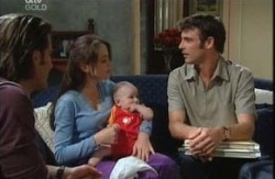 Drew Kirk, Libby Kennedy, Ben Kirk, Malcolm Kennedy in Neighbours Episode 3986