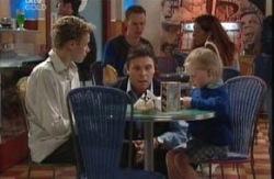 Leo Hancock, Joe Scully, Emily Hancock  in Neighbours Episode 3986