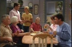 Lou Carpenter, Rosie Hoyland, Marc Lambert, Steph Scully, Harold Bishop, Lyn Scully, Joe Scully in Neighbours Episode 3988