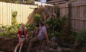 Sky Mangel, Harold Bishop, Joe Mangel in Neighbours Episode 4774