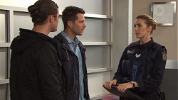 Tyler Brennan, Mark Brennan, Senior Constable Fagan in Neighbours Episode 7727