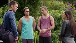 Mark Brennan, Aaron Brennan, Tyler Brennan, Mishti Sharma in Neighbours Episode 7736