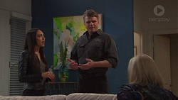 Mishti Sharma, Gary Canning, Sheila Canning in Neighbours Episode 7736