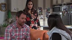 Shane Rebecchi, Dipi Rebecchi, Mishti Sharma in Neighbours Episode 7737