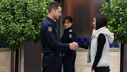 Mark Brennan, Snr. Sgt. Christina Lake, Mishti Sharma in Neighbours Episode 7737