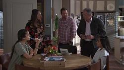 Yashvi Rebecchi, Dipi Rebecchi, Shane Rebecchi, Karl Kennedy, Kirsha Rebecchi in Neighbours Episode 7738