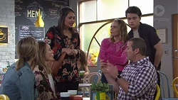 Steph Scully, Sonya Mitchell, Dipi Rebecchi, Xanthe Canning, Ben Kirk, Toadie Rebecchi in Neighbours Episode 7738