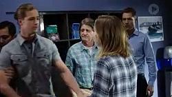 Tyler Brennan, Det. Bill Graves, Piper Willis, Mark Brennan in Neighbours Episode 7750