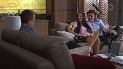 Paul Robinson, Mishti Sharma, Leo Tanaka in Neighbours Episode 7754