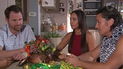 Shane Rebecchi, Mishti Sharma, Leo Tanaka in Neighbours Episode 7765