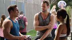 Aaron Brennan, Rory Zemiro, Mishti Sharma in Neighbours Episode 7768