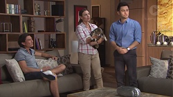 Leo Tanaka, Amy Williams, Clementine, David Tanaka in Neighbours Episode 7768