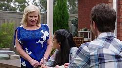 Sheila Canning, Yashvi Rebecchi, Shane Rebecchi in Neighbours Episode 7772