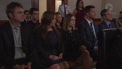 Gary Canning, Ben Kirk, Terese Willis, Steph Scully, Piper Willis, Paige Novak, Mark Brennan, Aaron Brennan in Neighbours Episode 7777