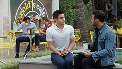 Leo Tanaka, Amy Williams, David Tanaka, Rafael Humphreys in Neighbours Episode 7783