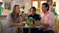 Amy Williams, Mishti Sharma, Leo Tanaka in Neighbours Episode 7789