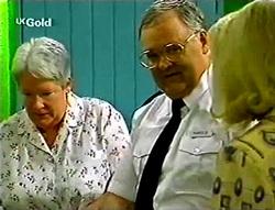Claudia Harvey, Harold Bishop, Madge Bishop in Neighbours Episode 2785
