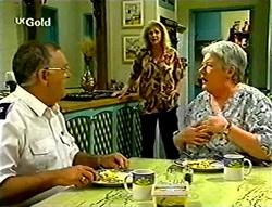 Harold Bishop, Madge Bishop, Claudia Harvey in Neighbours Episode 2785