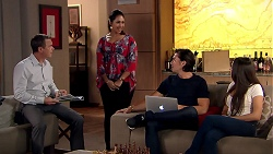 Paul Robinson, Dipi Rebecchi, Leo Tanaka, Mishti Sharma in Neighbours Episode 7800