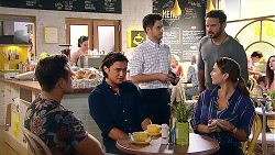 Aaron Brennan, Leo Tanaka, David Tanaka, Rafael Humphreys, Amy Williams in Neighbours Episode 7802