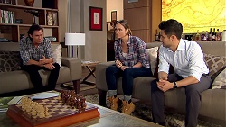 Leo Tanaka, Amy Williams, David Tanaka in Neighbours Episode 7804