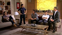 Amy Williams, Mishti Sharma, Leo Tanaka, David Tanaka, Paul Robinson in Neighbours Episode 7804