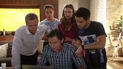 Paul Robinson, Aaron Brennan, Leo Tanaka, Amy Williams, David Tanaka in Neighbours Episode 7811