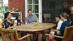 Dipi Rebecchi, Kirsha Rebecchi, Shane Rebecchi, Jimmy Williams, Amy Williams in Neighbours Episode 7817