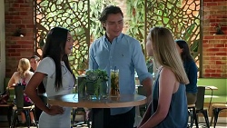 Mishti Sharma, Leo Tanaka, Monique Hughes in Neighbours Episode 7823