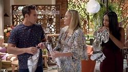 Aaron Brennan, Xanthe Canning, Mishti Sharma in Neighbours Episode 7826