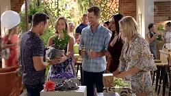 Aaron Brennan, Sonya Mitchell, Mark Brennan, Mishti Sharma, Xanthe Canning in Neighbours Episode 7826