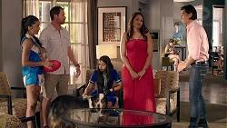 Yashvi Rebecchi, Shane Rebecchi, Kirsha Rebecchi, Dipi Rebecchi, Leo Tanaka in Neighbours Episode 7828