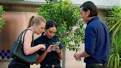 Monique Hughes, Mishti Sharma, Leo Tanaka in Neighbours Episode 7830